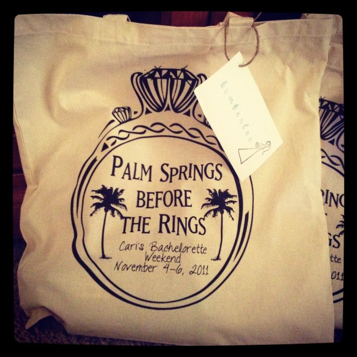 funny bachelorette party sayings for invitations%0A Palm Springs Before The Rings  bachlorette party bag