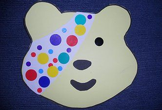 Tried and Tested Children In Need Toddler Group Craft - Pudsey Bear - use a children in Need Colouring in Sheet as a template. Very effective, we use every year!