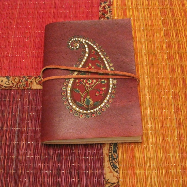 Handpainted Paisley Leather Journal @http://www.etsy.com/people/withanindiantouch?ref=pr_profile