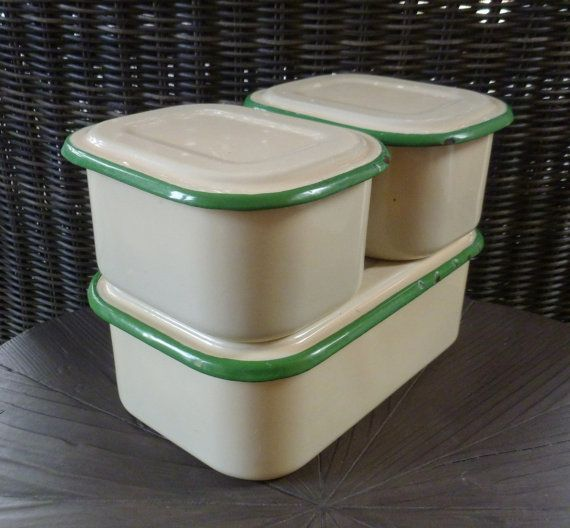 Enamelware Refrigerator Boxes. Set of 3 with Lids. Enamel Storage Containers. Green & Cream. Vintage 1930s. Cottage Farmhouse Kitchen Decor....