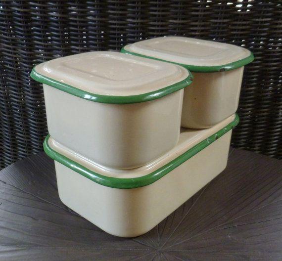 Enamelware Refrigerator Boxes. Set of 3 with Lids. Enamel Storage Containers. Green & Cream. Vintage 1930s. Cottage Farmhouse Kitchen Decor....