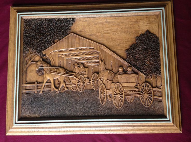 Carving art relief horses carriage kim murray rustic