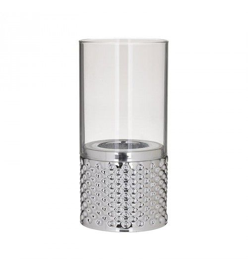 GLASS_METAL_ VOTIVE HOLDER IN SILVER COLOR D11X23