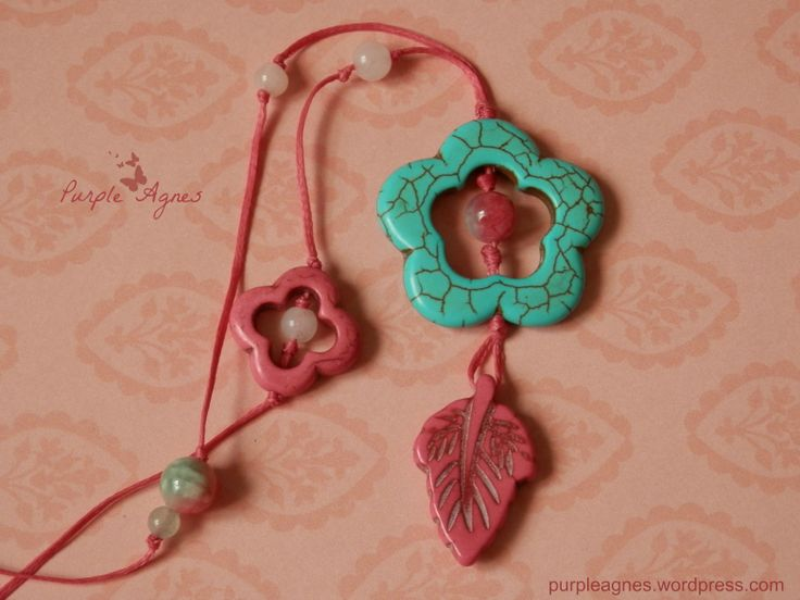 Bohemian Jewelry, Flower and Lead Pendant, Pastel Colors