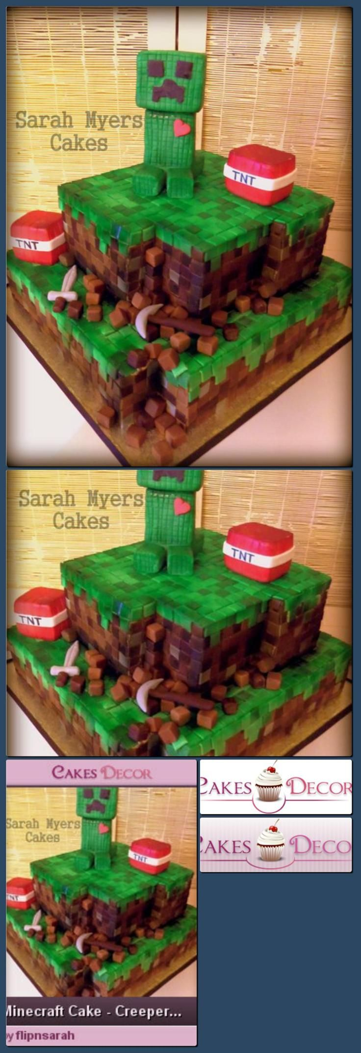 Minecraft Cake - Creeper <3 TNT - by flipnsarah @ CakesDecor.com - cake decorating website [Collage made with one click using http://pagecollage.com] #pagecollage