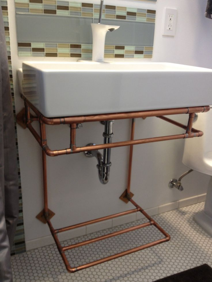 Pic Of Copper wall mounted bathroom sink stand with towel rack via Etsy