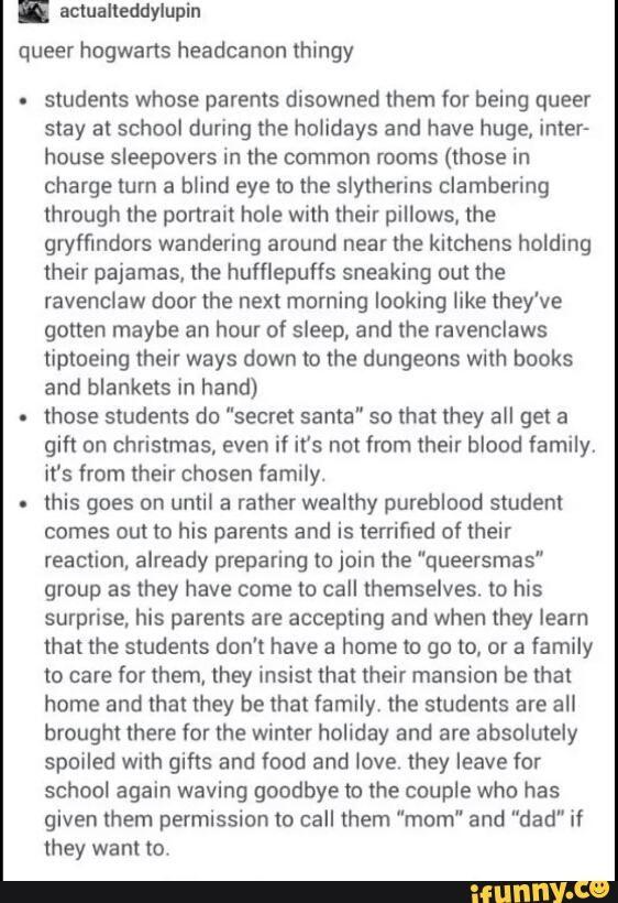 Hogwarts lgbt headcanons More
