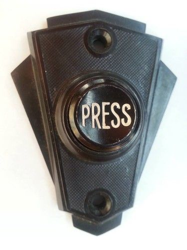 This Art Deco Bakelite Doorbell is very interesting, i like the bold white writing in the middle. This piece is dull and boring however this easy design appeals to me with its characteristics of the 20th century