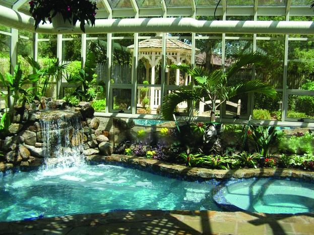 20 best greenhouse covered pool images on pinterest for Indoor garden pool