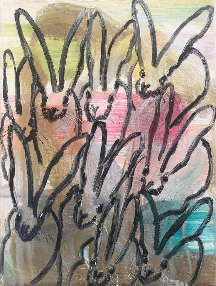 Hunt Slonem Untitled, Multicolored Bunnies on Gold and