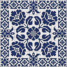 Blue tile   Chart for cross stitch or filet crochet.