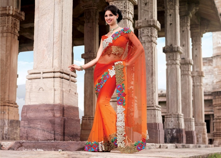 Dual colour saree in orange and red colour. Outshine the world around you.    For more details visit www.ashika.com