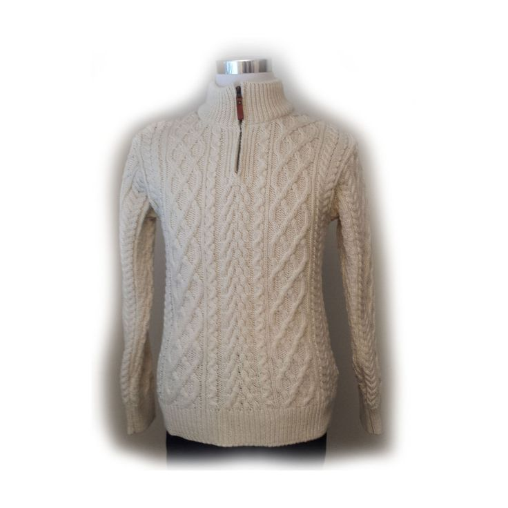 #men Inis Crafts men size S knit wool quater zip white sweater made in Ireland withing our EBAY store at  http://stores.ebay.com/esquirestore