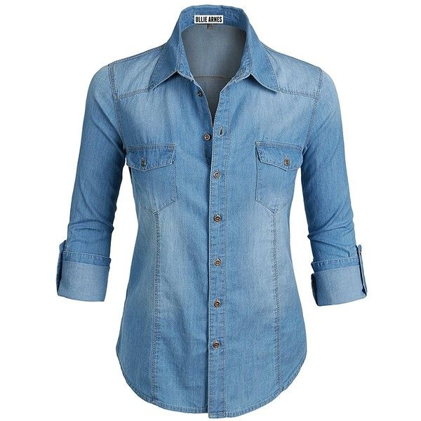 c12c127fe3088 Ollie Arnes Women s Plus Size Chambray Denim Button Up Shirt ( 27) ❤ liked  on Polyvore featuring tops