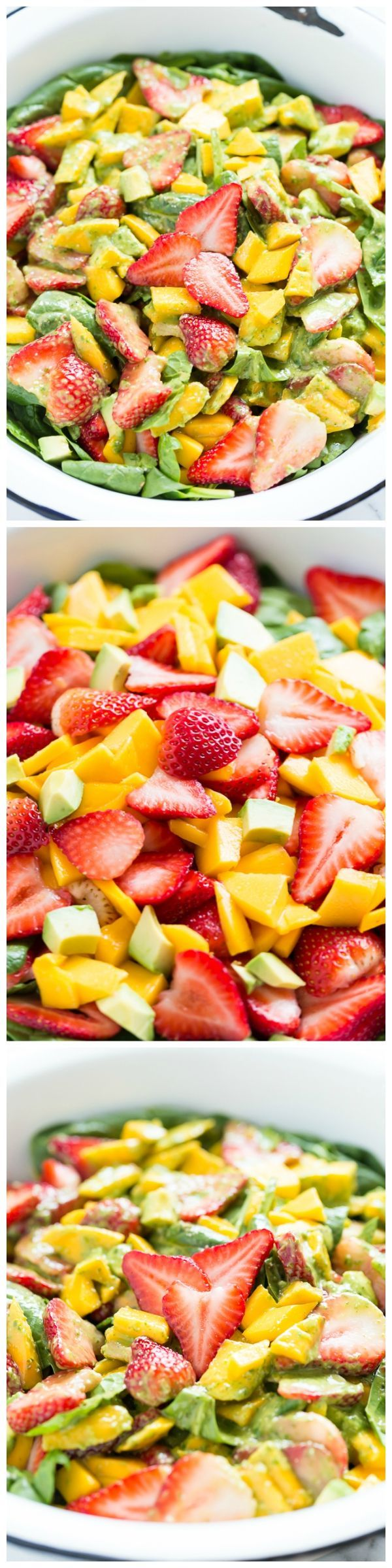 Strawberry Mango Spinach Salad with Creamy Basil Dressing - a fresh ...
