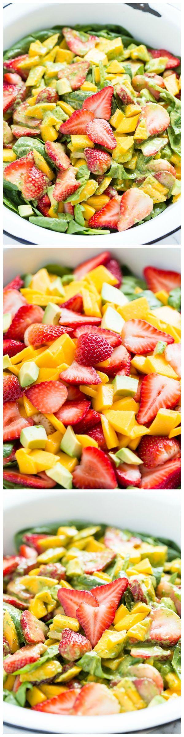 Strawberry Mango Spinach Salad with Creamy Basil Dressing - a fresh ...