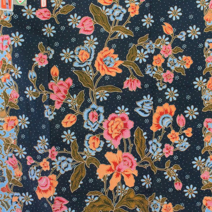 blue flowers pure cotton traditional Indonesian Batik style,batik sarong fabric. by TheThailand on Etsy