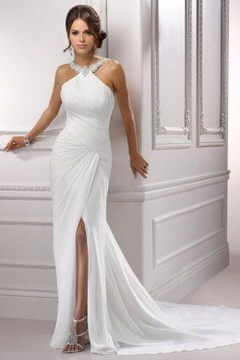 tdbridal 2015 Best Selling Concise Bateau Beading Neck Mermaid Court Train Satin With Slit Wedding Dress