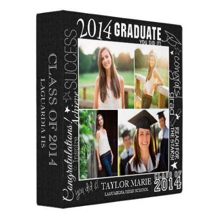 Custom Graduation 2014 Photo Collage Scrapbook 3 Ring Binders