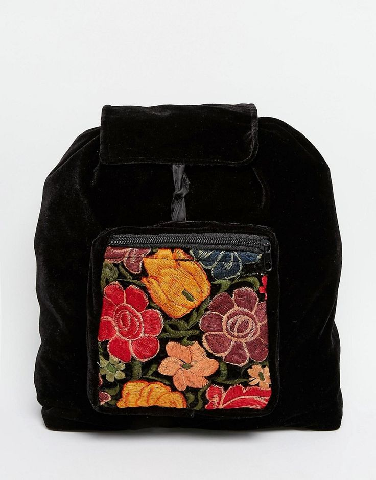 Hiptipico+Handmade+Velvet+Backpack+With+Floral+Embroidery