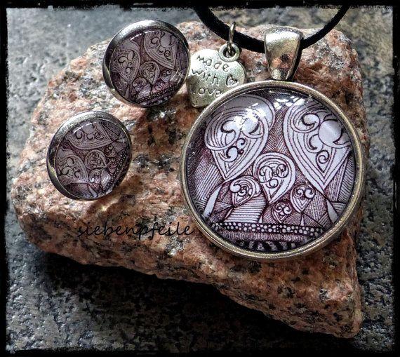 Cabochon-Schmuckset Tangle-Phantasie-Hearts von Zentangle® ..gezeichnet von SiebenPfeile