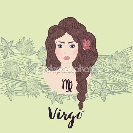 Иллюстрация Дева знак зодиака как красивая девушка — стоковая иллюстрация #112242088
