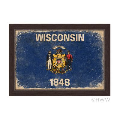 "Click Wall Art State of Wisconsin Flag Framed Graphic Art Size: 23"" H x 33"" W x 1"" D"