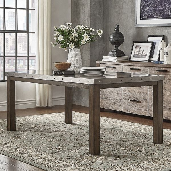 Cidy Stainless Steel Top Rectangle Dining Table By Signal Hills Home