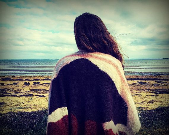 Boho mohair women's open poncho kimino cape wrap shawl by In2twine