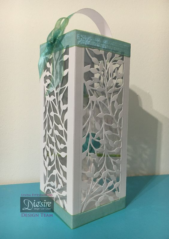 Gift Box made with Crafter's Companion Create-A-Card Decorative Dies - Vine Leaves. Designed by Linda Fitzsimmons #crafterscompanion