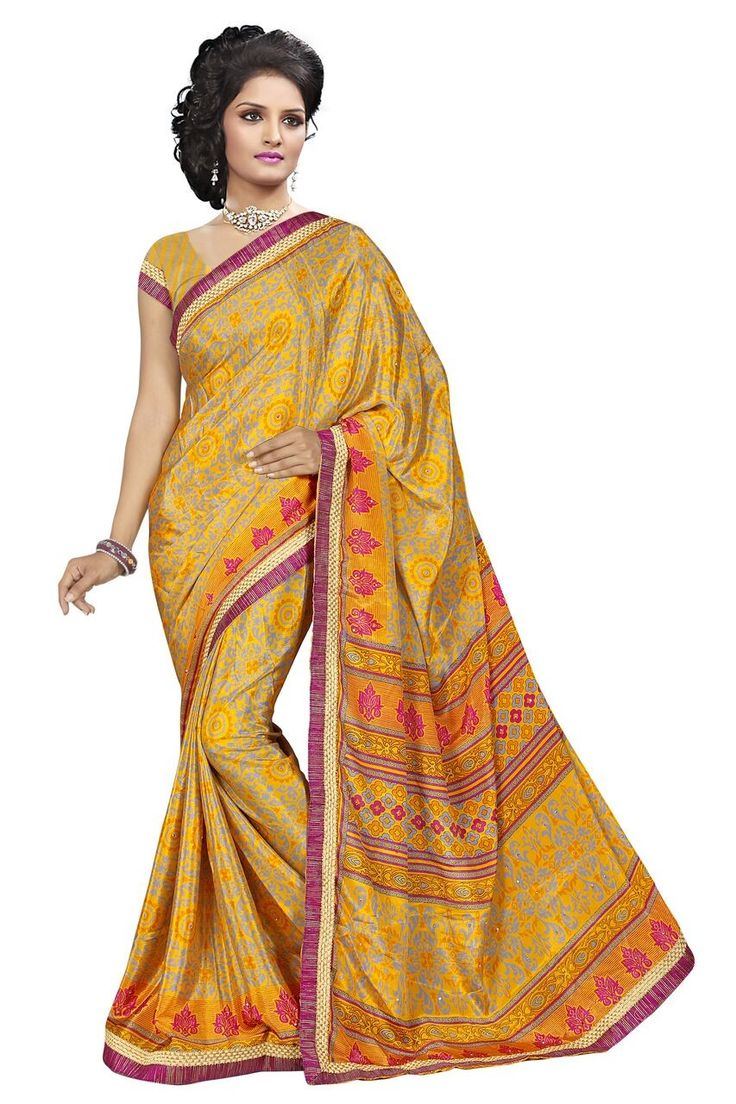 buy saree online Yellow Colour Printed with Lace Border Turkey Silk Saree Buy Saree online - Buy Sarees online