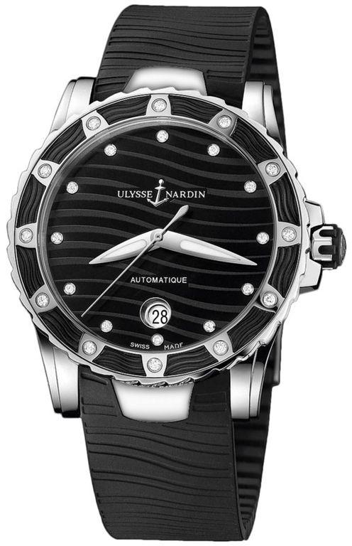 Ulysse Nardin 8153-180E-3/12 Lady Diver UN-815. #ulyssenardin - черные, белые - швейцарские женские наручные часы