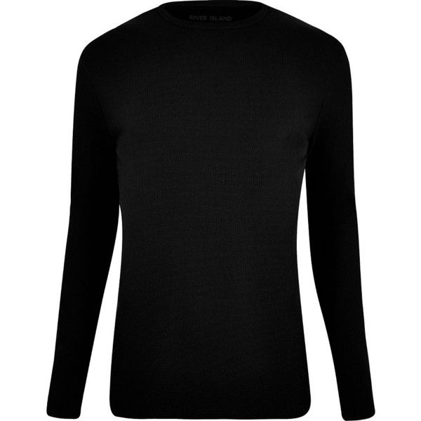 River Island Big and Tall black long sleeve T-shirt ($15) ❤ liked on Polyvore featuring men's fashion, men's clothing, men's shirts, men's t-shirts, black, mens slim fit long sleeve t shirts, mens long sleeve shirts, mens slim fit shirts, big tall mens shirts and mens slim fit t shirts