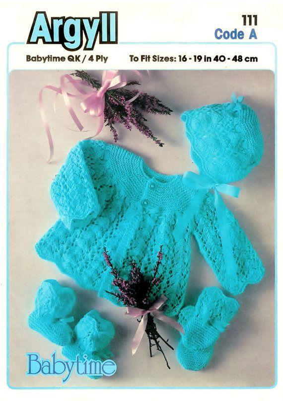 PDF Vintage Baby Knitting Pattern Matinee Bonnet Mitts