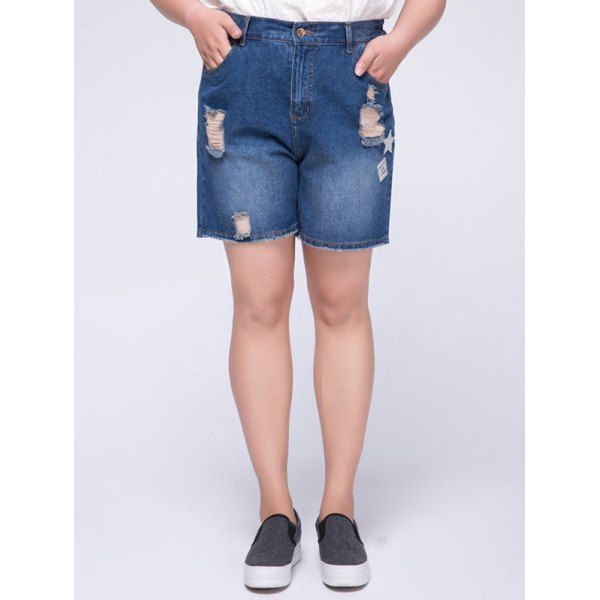 Stylish Plus Size High Waist Appliqued Ripped Women's Shorts — 14.44 € Size: 6XL Color: BLUE