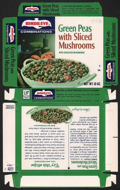 General Foods Birds Eye Combinations Green Peas with Sliced Mushrooms January 14 1972 by JasonLiebig, via Flickr