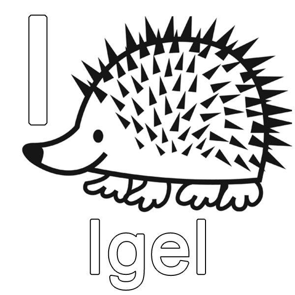 Ausmalbild Buchstaben lernen: Kostenlose Malvorlage: I wie Igel kostenlos ausdrucken