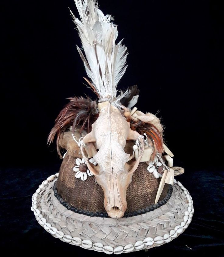 Tribal Skull Hat Headdress Curio bizarre Feather Shell Collectable  fine Art