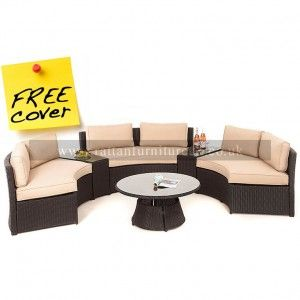 Moonstone Rattan Garden Sofa Set 3.3m x 2.26m £779 delivery May.  Tables can be put at end to join sofa up into one big one.