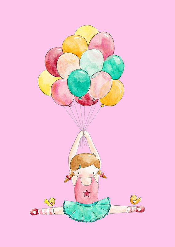 Circus Capers Girls Art Print in Watercolor and Summer Gelati Brights Ballet Balloon Ride