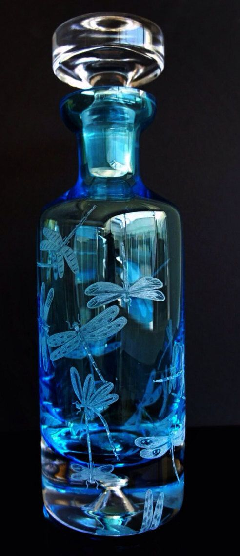 Elegant cobalt decanter hand engraved with dragonflies on Etsy, $799