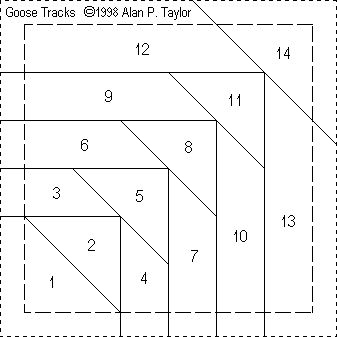 Goose Tracks paper piece pattern....enlarge to the size you need.