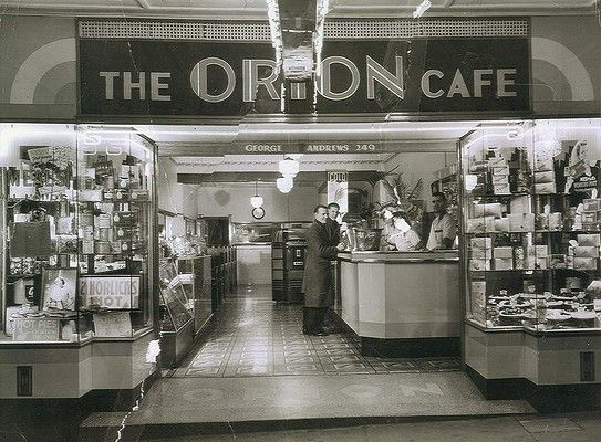 The Orion Cafe in Ashfield in Sydney during the late 1940s. The Orion was operated by a Greek-Cypriot, George Andrews. It was through these Greek-run cafes and milk bars that milkshake became 'king' of light refreshments.