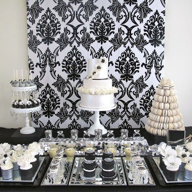 Divine Sweets And Cakes Styled And Made All The Beautiful Sweet Treats And  Gorgeous Cake For The Super Stylish Black And White With A Touch Of Silver  Table.