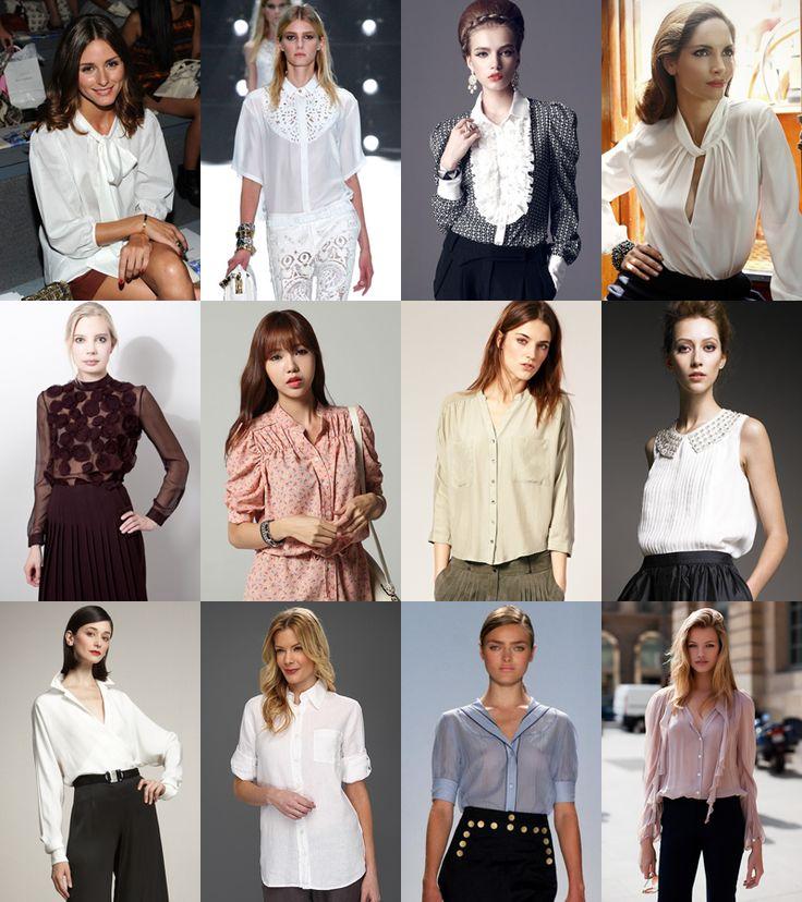 blouses  1 ряд – мягкий бант; кружевные края; жабо; драпированый вырез. 2 ряд – аппликация; гофрирование; присборенность; бисер. 3 ряд – блузка из шелка; блузка из льна; блузка из батиста; блузка из вуали