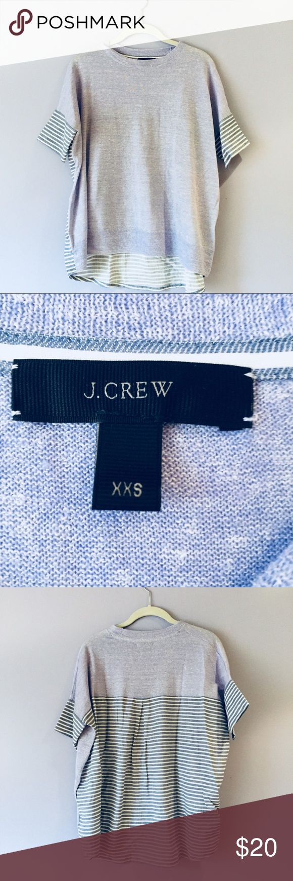 J. Crew linen & cotton stripe tee Excellent condition tee by J. Crew. Linen light blue front with a stripe shirttail in the back, retail not outlet. Size says XXS but it is a loose fitting tee - can fit XS or S. Offers welcome! J. Crew Tops Blouses