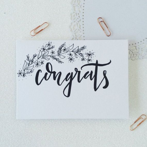Congrats calligraphy greetings card. Hand by elfcreative on Etsy