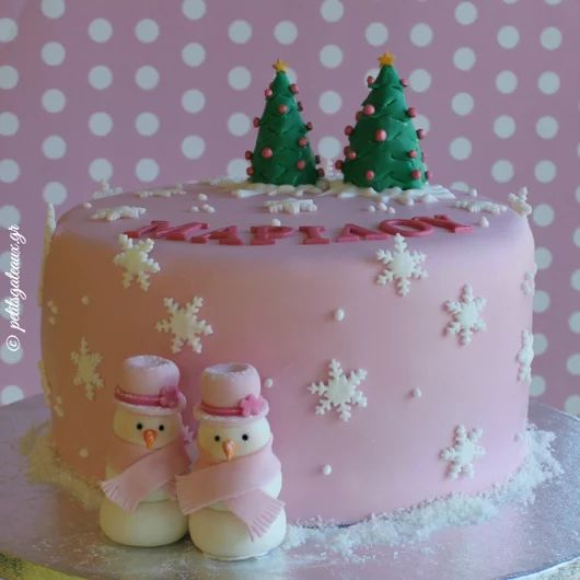 Pink Christmas birthday cake!