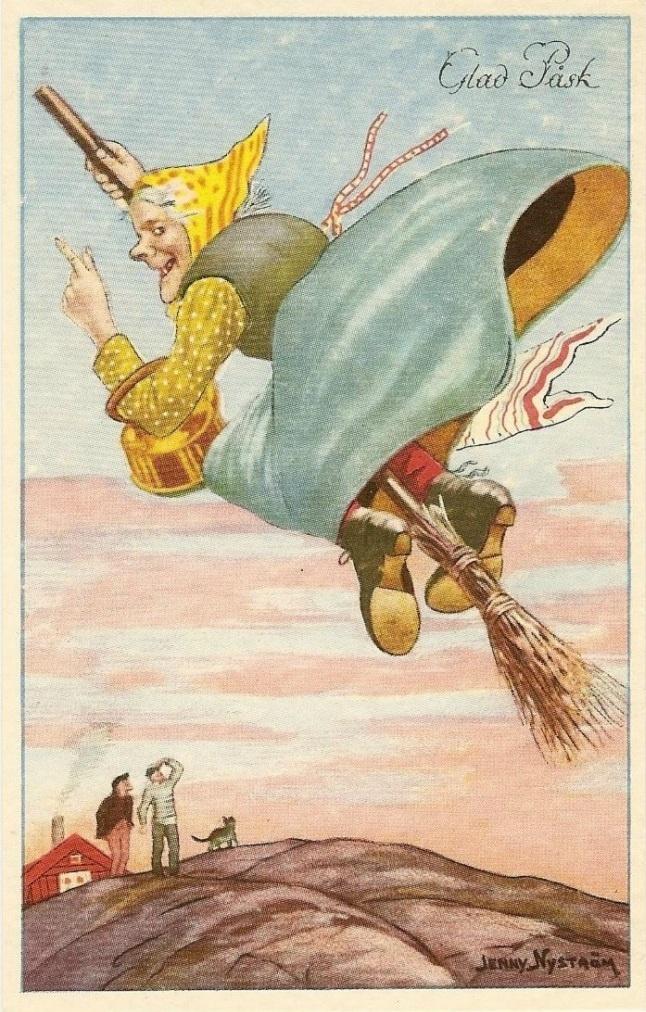 Glad Påsk, vintage Swedish Happy Easter postcard, Jenny Nyström