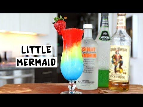 THE LITTLE MERMAID  Blue Layer:  1 oz. (30ml) Orange Vodka 1 oz. (30ml) Blue Curaçao  Green Layer:  3 oz. (90ml) Melon Liqueur  1 oz. (30ml) Coconut Rum  2 oz. (60ml) Pineapple Juice  Red Layer:  2 oz. (60ml) Grenadine  1 oz. (30ml) Spiced Rum  Garnish: Strawberry  PREPARATION  1. Blend the ingredients for each layer into a blender with ice and combine until smooth.  2. Layer into a hurricane glass and garnish with a strawberry.  DRINK RESPONSIBLY!